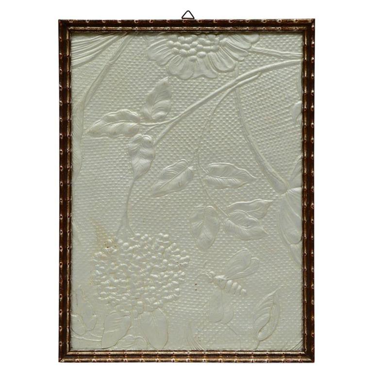 Framed Art Deco Embossed Leather Panel with Applied Silver Leaf