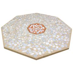 Harvey Probber Octagonal Terrazzo and Walnut Low Table