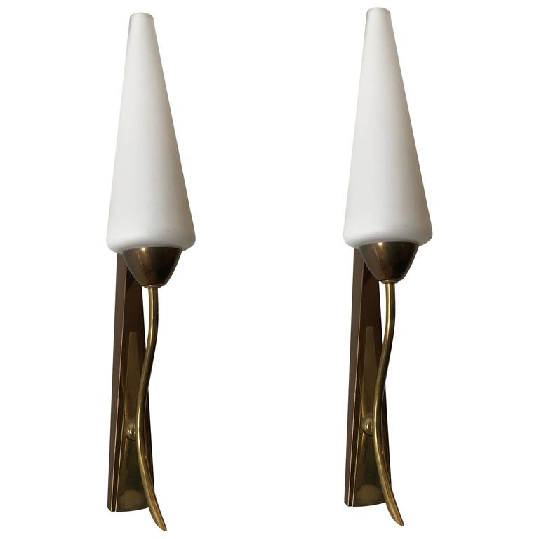 Pair of French 1950s Tulip Wall Lights