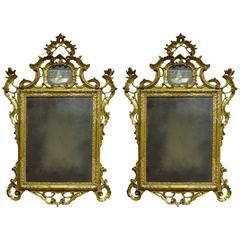 Pair of Early 19th Century Venetian Gilt Mirrors with Etched Figural Design
