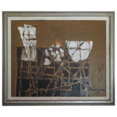 Midcentury Semi-Abstract Oil Painting by Boardman
