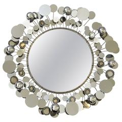 1976 Chrome Raindrops Mirror by Curtis Jeré
