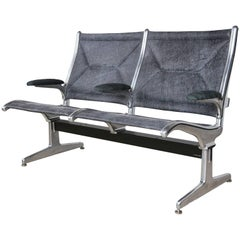 Tandem Sling by Eames for Herman Miller, Restored in Edelman Leather, circa 1962