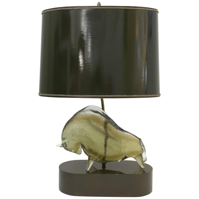 Corroso Murano Glass Bull Table Lamp By Livio Seguso For Sale