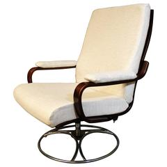 Westnofa Bentwood Swivel Lounge Chair in Rosewood and Chrome