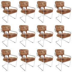 Set of 12 Tucroma Dining Chairs Designed by Guido Faleschini for Pace, 1970s