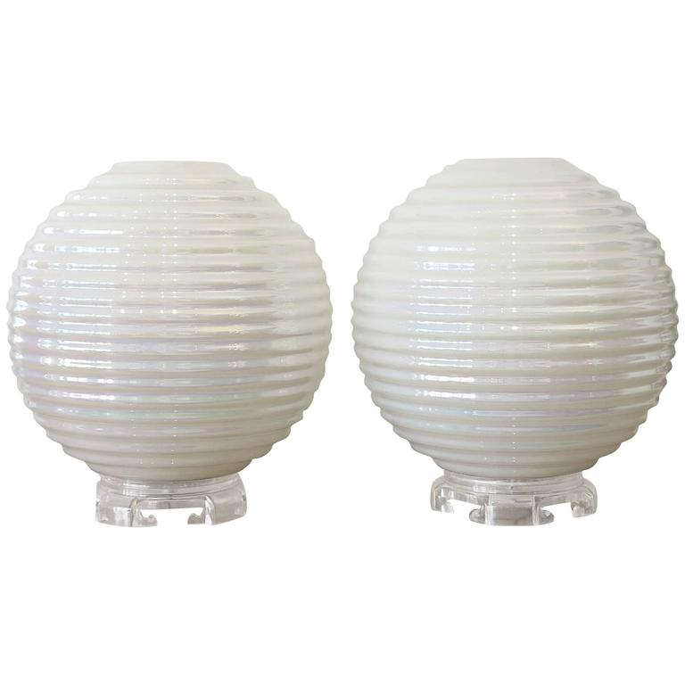 this opalescence ribbed glass globes table lamps 1960s is no longer. Black Bedroom Furniture Sets. Home Design Ideas
