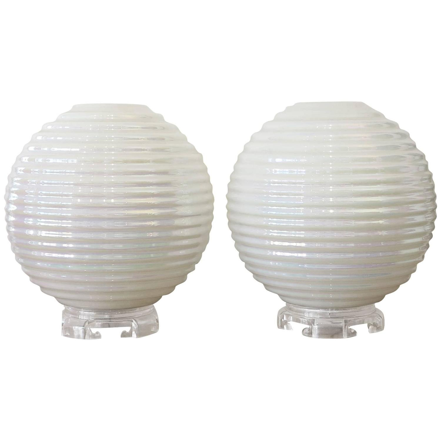 Round globe table lamp best inspiration for table lamp plastic round globe table lamps with ribbed shades 1960s for sale at geotapseo Images