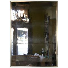 """Hollyhock """"Three-Panel"""" Mirror in Hand-Rolled Glass with Silver Leaf Frame"""