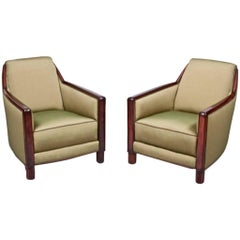 DIM Pair of Cubist Club Chairs in Rosewood