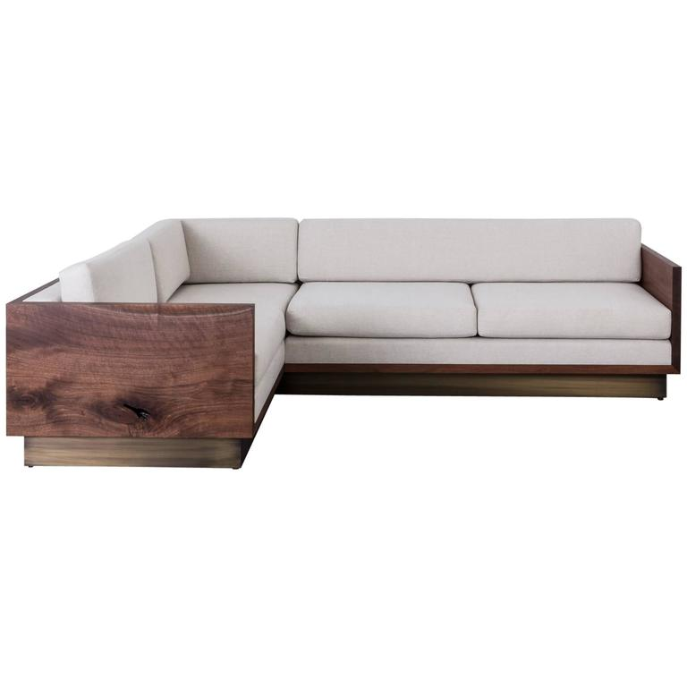 Genial St. Pierre Sectional Sofa By Uhuru, Claro Walnut Wood Slab, Brass Platform  Base