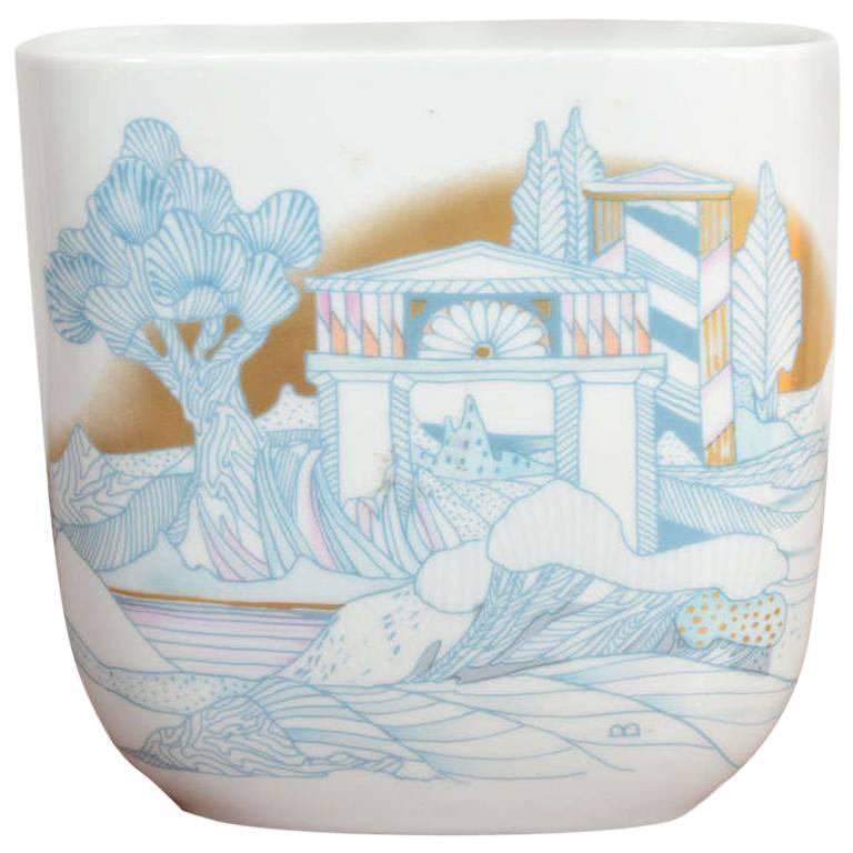 Rosenthal, Vase Germany Porcelain Mid Century 1970s Asian Inspired