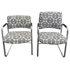 Pair of Mid-Century Optical Art Chairs in Black and White