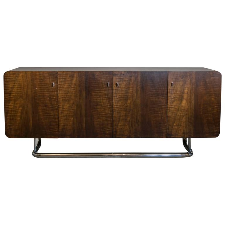 Rounded Walnut Credenza with Cantilevered Chrome Base
