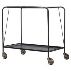 Mathieu Matégot Style Pilastro Bar Cart with Removable Tray