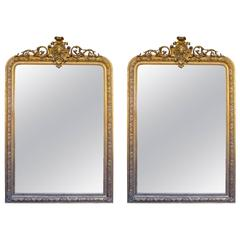 Pair of Antique French 19th Century Gilded Louis XV Mirror