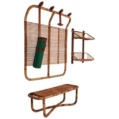 Bamboo Coat Rack, Bench and Shelf