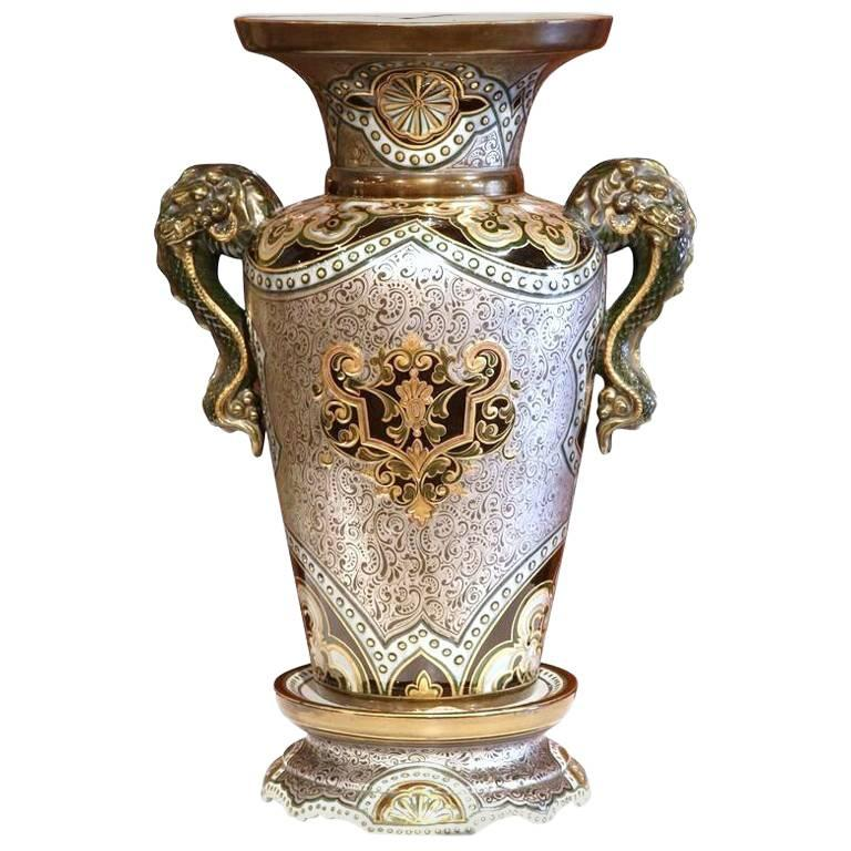 Large 19th Century French Hand Painted Silver And Gold Vase With