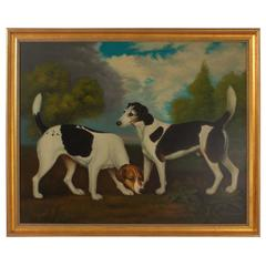 Oil Painting on Canvas of Two Hunting Dogs