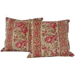 Pair of 19th Century French Floral and Ticking Pillows