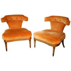 Pair of Mid-Century Slipper Chairs with Caned Backs by Tomlinson