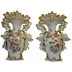 Great Pair of Italian Porcelain Vases with Gold Leaf