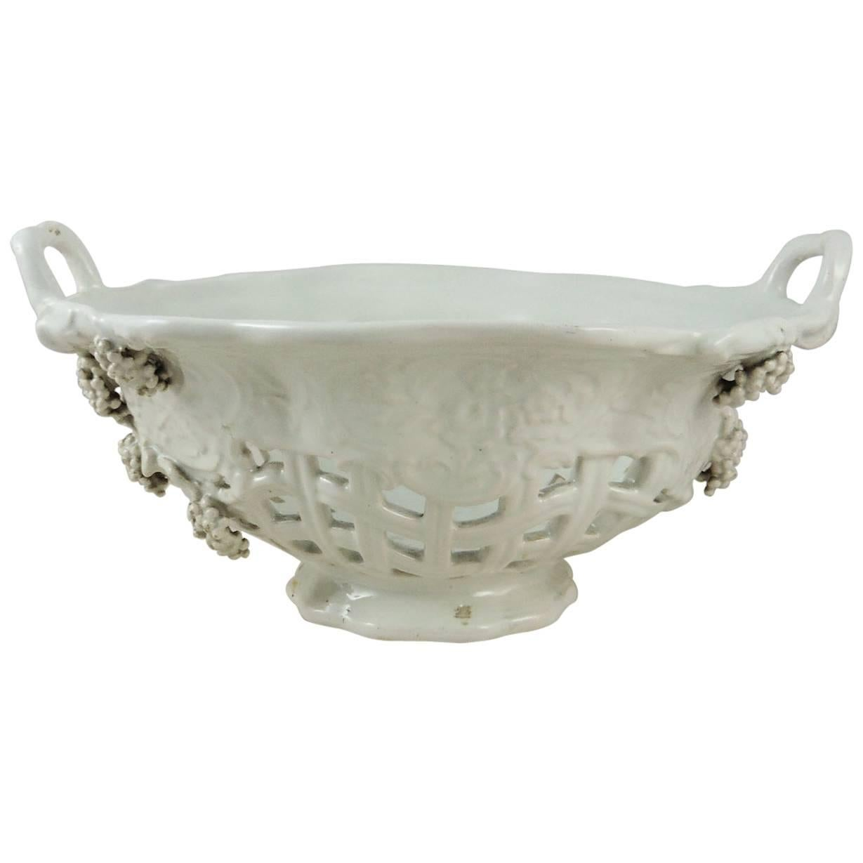 French White Reticulated Grapes Basket, circa 1900