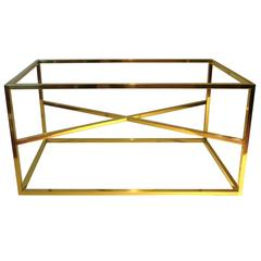 Square Brass Piping Coffee Table Base with X Bar Accent