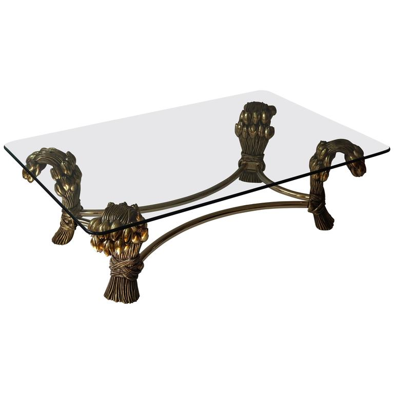 Glass and Brass Coffee Table in the Manner of Maison Jansen For Sale