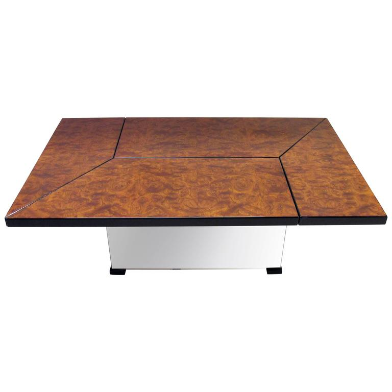 Cleverly Designed French, Burl Wood Metamorphic Coffee Table by Paul Michel