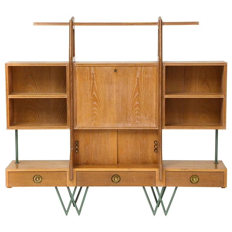 Architectural Cerused Oak Bookshelf Secretary Mid-Century, France with Iron Legs For Sale