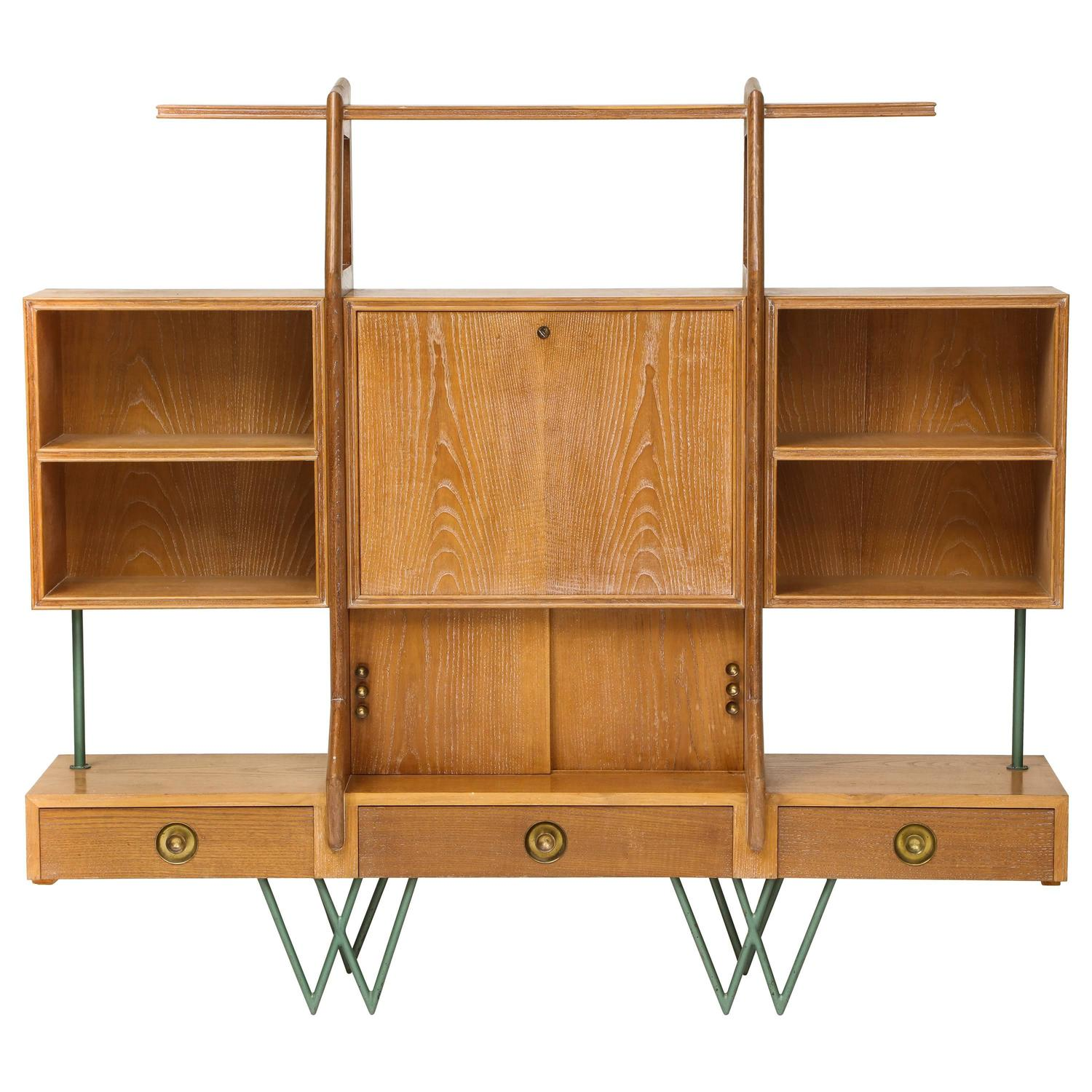 Very Impressive portraiture of Architectural Cerused Bookshelf Secretary Mid Century France with  with #6D3D18 color and 1500x1500 pixels