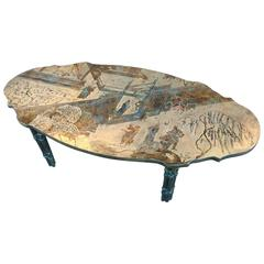 "Bronze ""T'ang Boucher"" Ovoid Shape Coffee Table by Philip and Kelvin La Verne"