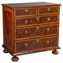 Visually Striking Charles II Oyster Veneer and Line Inlay Chest of Drawers