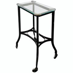 Art Deco Metal Rolling Side Table with Glass Top, 1920s