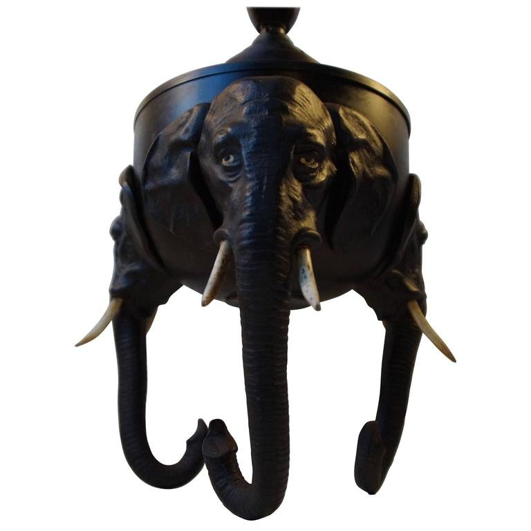 Very Rare German Metal Table Lamp with Black Elephant Tri-Stand Base, circa 1920 For Sale
