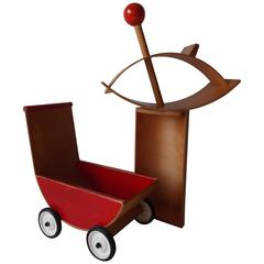 Creative Playthings Bentwood Lot of Child's Toys Cradle Buggy Rocking Horse