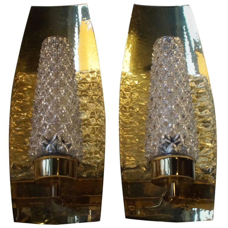 Pair of Mid-Century Brass and Crystal Sconces by HAGS, Austria, Vienna, 1950s