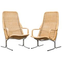 Pair of Dirk Van Sliedrecht Rattan Lounge Chairs with Chrome Sled Frame