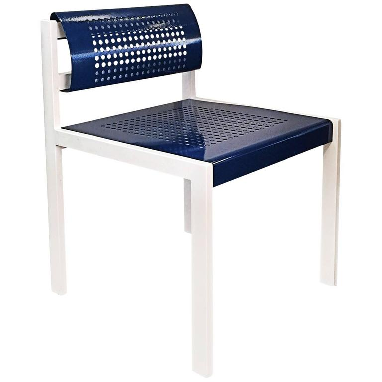 Set Of Four Modern Steel Patio Chair With Perforated