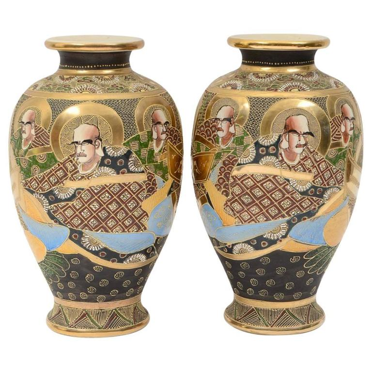 Pair Of Early 20th Century Satsuma Japanese Porcelain Vases For Sale