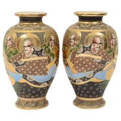 Pair of Early 20th Century Satsuma Japanese Porcelain Vases