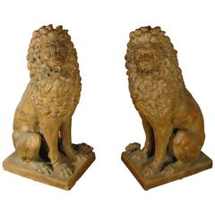 Facing Pair of Early 19th Century Tuscan Terracotta Lion Sculptures