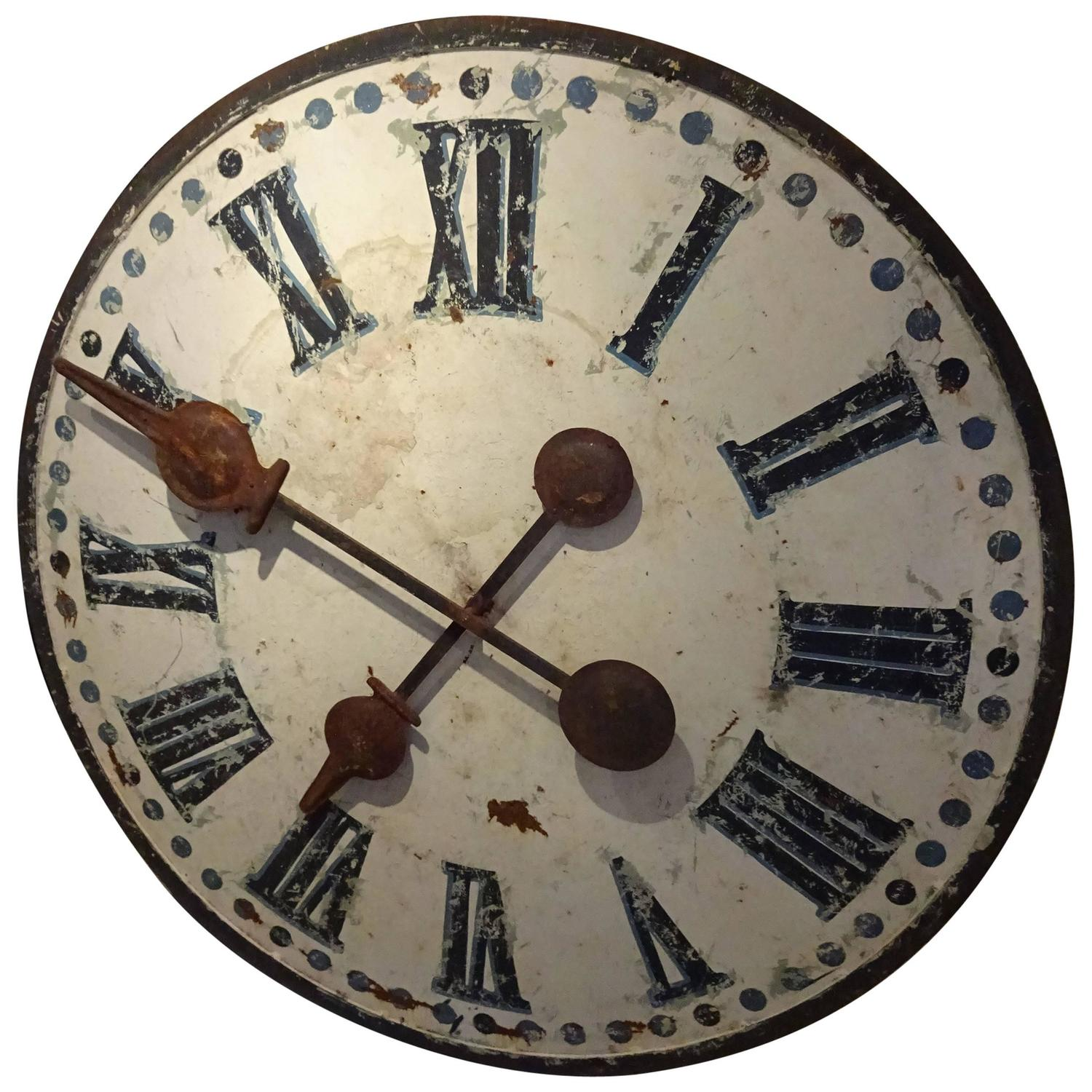 Large Industrial Antique French Clock Face For Sale At 1stdibs