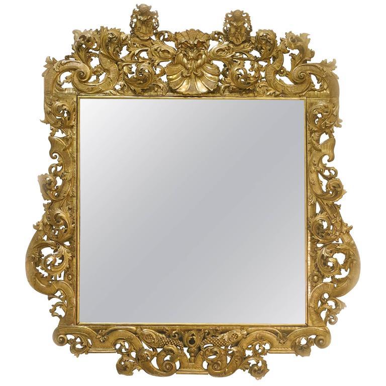 Espejo palaciego barroco dorado siglo xviii at 1stdibs for Espejo barroco