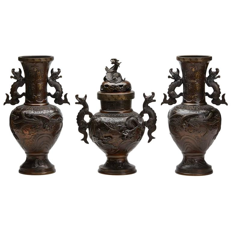 Antique Japanese Garniture Three Bronze Vases Meiji Period Circa