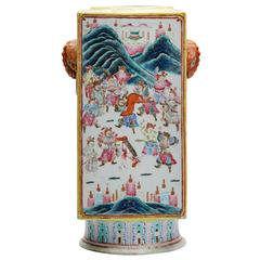 Antique Chinese Cong Shape Famille Rose Vase, 19th Century