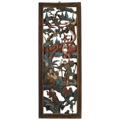 Antique Chinese Carved Guanxii Palace Panel