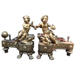 Exquisite Pair of Fireplace Andirons in Gilt Bronze, France, Early 19th Century