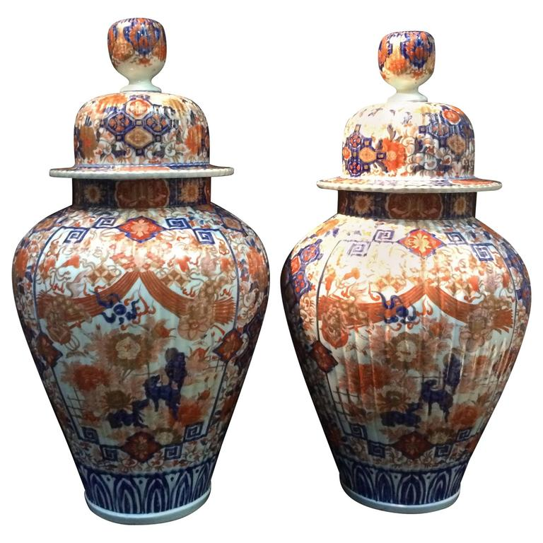 Pair Of Blue And Orange Painted Ceramic Japanese Vases From The 19th